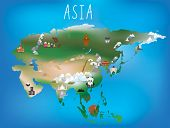 Cute illustrated map of asia with space to add country names in your own language if needed.