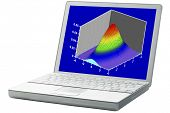 scientific graph (bivariete Gaussian distribution mesh plot) on an isolated laptop