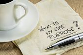 stock photo of philosophy  - What is my life purpose question on a cocktail napkin with a cup of coffee - JPG