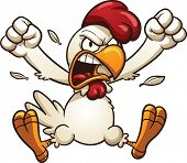 Angry cartoon chicken. Vector clip art illustration with simple gradients. All in a single layer.