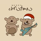 Cartoon of teddy bears in Santa cap playing guitar and enjoying on occasion of Merry Christmas.