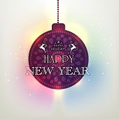 Beautiful hanging X-mas ball with stylish text on colorful shiny background for Happy New Year celebration.