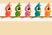 cartoon parrots standing on a branch