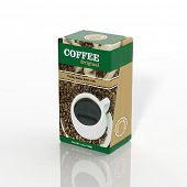 3D Coffee paper package isolated on white