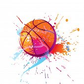 Colorful basket ball with spots and sprays on a white background . Vector illustration.