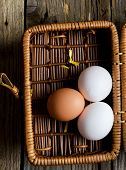 Eggs In A Rustic Basket