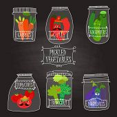 Pickled Vegetables In Vector Set - Carrots, Chilly, Cucumbers, Tomatoes, Broccoli, Eggplants.