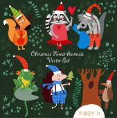 Cute Christmas Vector Set Of  Woodland And Forest Animals.gopher, Bear, Hedgehog, Wolf, Raccoon, Goa