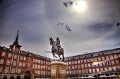 Plaza Mayor King Philip Iii Equestrian Statue Cityscape Madrid Spain