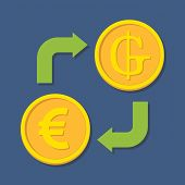 Currency Exchange. Euro And Guarani.