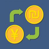 Currency Exchange. Yen(yuan) And Shekel.