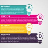 Infographic Design Style Colorful Light Bulb.