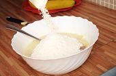 Adding Flour In Dough