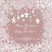 Pastel xmas card with paper snowflakes