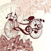 Fashion Background With Abstract Bike With Notes And Flowers For Wedding Design