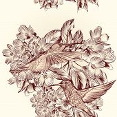 Floral Vector Seamless Pattern With Hummingbirds And Flowers