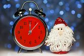 Santa Claus Or Father Frost And Retro Alarm Clock