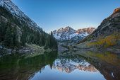 Maroon Bells Sunrise Mirror Reflection