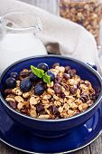 Chocolate breakfast granola in a bowl