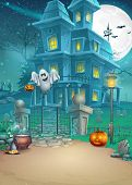 Holiday card with a mysterious Halloween haunted house scary pumpkins magic hat and cheerful ghost