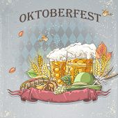 Image of a celebratory background oktoubest the steins of beer hops cones and autumn leaves.