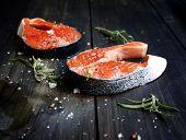 Fresh fillet salmon with salt