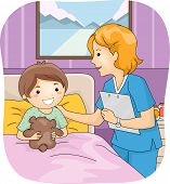 Illustration Featuring a Nurse Attending to Her Young Patient
