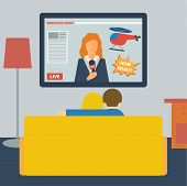 illustration in a flat style with couple watching the news on television sitting on the couch