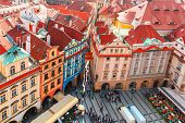 Aerial View Over Old Town Square In Prague, Czech Republic