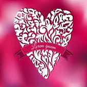 White lace ornamental heart. Greeting card