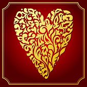 Gold lace ornamental heart. Greeting card