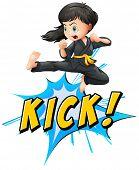 Karate kik with girl and wording