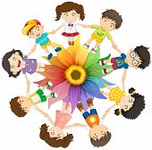 Kids holding hands around colourful flower