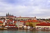 Prague cityscape with castle.