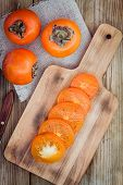 Fresh Organic Persimmon With Slices