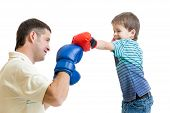 father and kid son play boxing