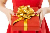 Gift Box Present With Ribbon And Bow, Woman Holding Red Presents In Hands