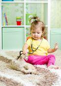 little kid girl plays doctor with kitten