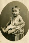 RUSSIA - CIRCA 1890 :  Vintage photo shows  portrait of a baby girl.