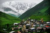 Ushguli Village With Shkhara Mountain In The Background