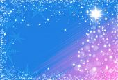 Christmas Background With Snowflakes Frame And Christmas Tree