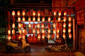 SHENZHEN, CHINA-APRIL 04: traditional red lanterns on the street on April 04, 2014 in Shenzhen, China. ShenZhen is regarded as one of the most successful Special Economic Zones.