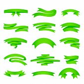Vector green ribons set, isolaten on background