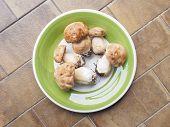 image of boletus edulis  - Boletus edulis aka penny bun or porcino mushroom in a dish isolated over white - JPG