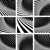 Illusion of whirl movement. Abstract backgrounds set. Vector art.