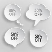 50% OFF. White flat buttons on gray background.