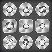 Recycle symbols set. Vector round and square steel buttons.