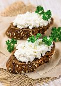 Two Sandwich With Curd Cheese And Parsley