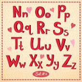 drawn type font, vector illustration in retro style