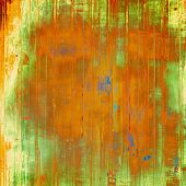 Dirty and weathered old textured background. With different color patterns: green; orange; brown; yellow
